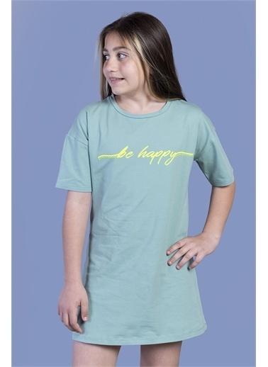 Toontoy Kids Toontoy Kız Çocuk Düşük Kol Detaylı Baskılı Elbise Yeşil
